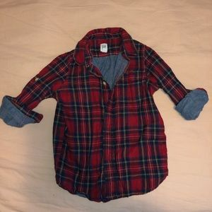 Boys button down plaid shirt with chambray lining